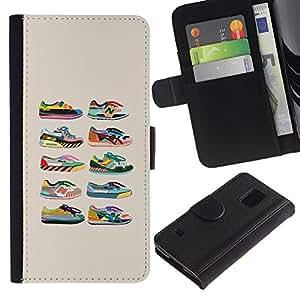 KingStore / Leather Etui en cuir / Samsung Galaxy S5 V SM-G900 / Zapatillas de deporte de los zapatos de diseño de moda Beige Gráfico