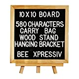 Black Felt Letter Board 10''x10'' Changeable Letter Boards Included: 580 White Plastic Letters, Premium Oak Frame, Wood Stand