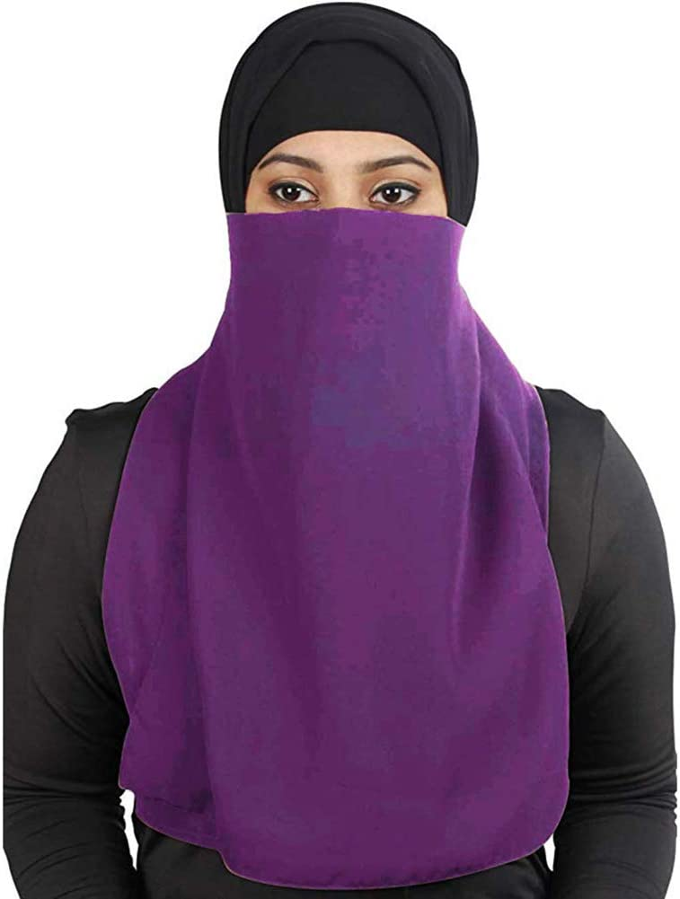 Newrys Face Neck Sun Protection Protection Scarf Solid Color Arab Muslim One Layer Niqab Veils Islamic Face Cover Scarf Deep Blue