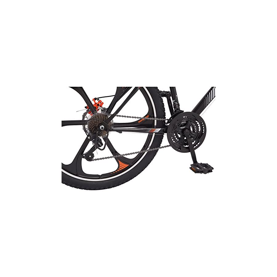 "21 speed Shimano Revo twist shifters 26"" Mens Mack Mag Wheel Bike, Black and Orange"