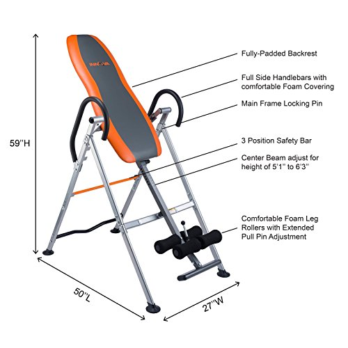 Innova Fitness ITX9300 Deluxe Inversion Table with Padded Backrest