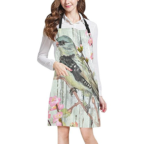 InterestPrint Vintage Bird with Flowers on Wooden Design Home Kitchen Apron for Women Men with Pockets, Unisex Adjustable Bib Apron for Cooking Baking Gardening, Large Size by InterestPrint