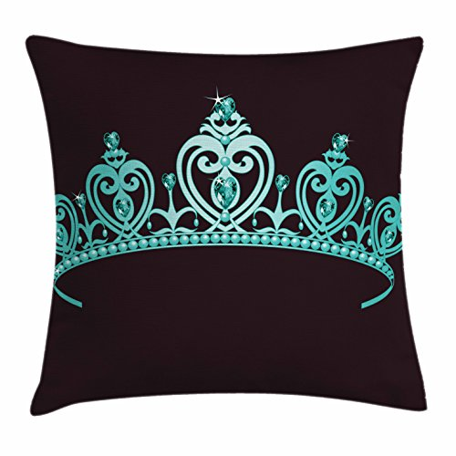 Fairy Tale Friends Tiara (Princess Throw Pillow Cushion Cover by Lunarable, Fairytale Character Costume Tiara Crown with Vibrant Heart Figures Girls Kids Theme, Decorative Square Accent Pillow Case, 40 X 40 Inches, Turquoise)
