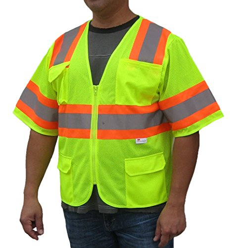 3C Products Class 3 3M Reflective Safety Vest XL Neon Green