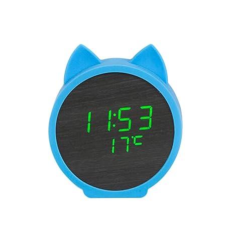 ES-BLUS Despertador/Reloj Electrónico Digital De Madera con LED/Control por Voz