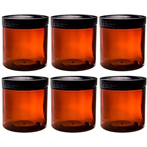 8 oz amber plastic jars - 5