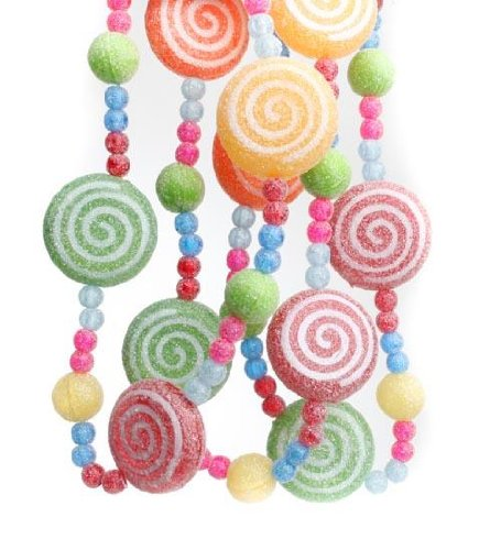 Factory Direct Craft Set of 4 Holiday Candy Swirl Peppermints and Beaded Gumdrops Sugared Garland (12 Total Feet of Garland) ()