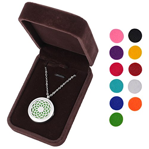 HOUSWEETY Aromatherapy Essential Diffuser Necklace Stainless