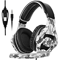 SADES New Xbox One Gaming Headset SA810 Over Ear Headphone Stereo Bass Gaming Headphones with Mic Noise Isolating Volume Control for PC PS4 Laptop (Camouflage)