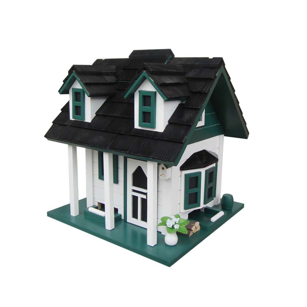 Home Bazaar Green Gables Bird Feeder, White/Green/Black by Home Bazaar, Inc.