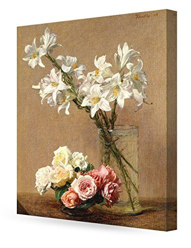 DecorArts - Roses and Lilies, Henri Fantin-Latour Art Reproduction. Giclee Canvas Prints Wall Art for Home Decor 30x24