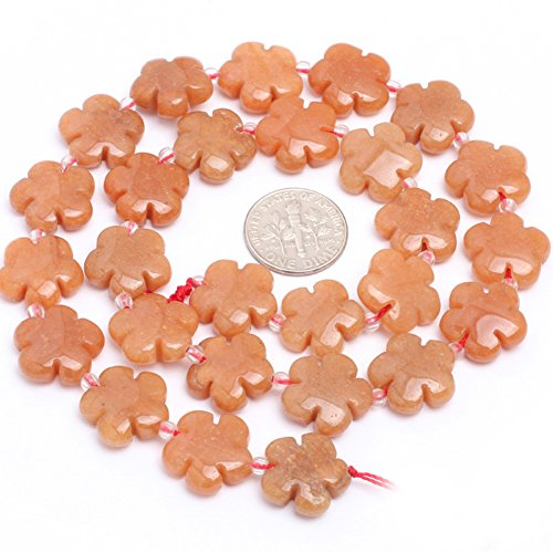 15mm Semi Precious Flower Red Aventurine Jade Gemstone Beads for Jewelry Making Strand 15""