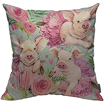 Mugod Pig Throw Pillow Cover Cute Pig Ballerina Watercolor Seamless Pattern Decorative Square Pillow Case for Home Bedroom Living Room Cushion Cover 18x18 Inch