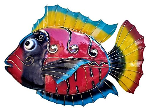 All Seas Imports X-Large Vibrant Art Deco Style Ocean Fish Wall Decor Art with Weather Coating