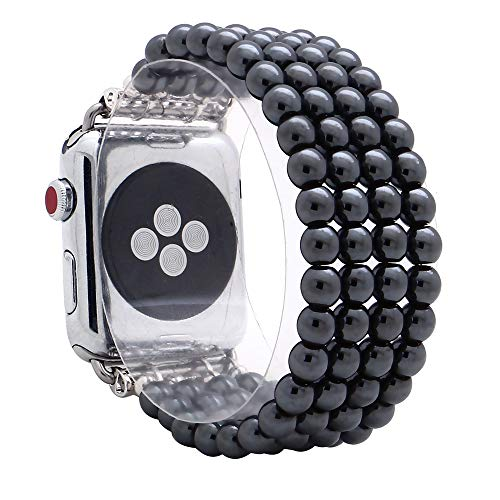 KAI Top Compatible with iWatch Band 38mm 42mm, Unisex Fashion Handmade Beaded Elastic Jewelry Bracelet Band Strap Replacement iWatch Bands Series 3 2 1 (Black 6mm Bead, 42mm)