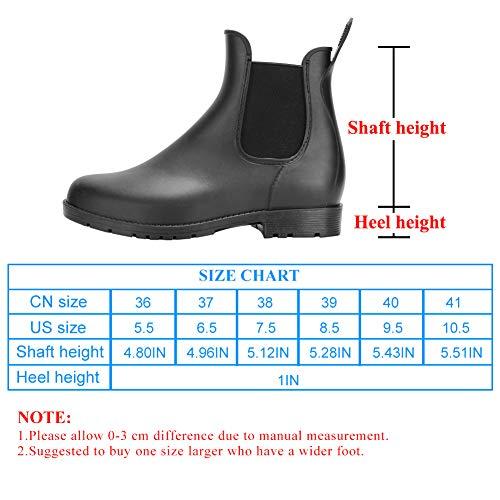 DAWAN Women's Anti-Slip Rain Boots Short GardenShoes Waterproof Chelsea Booties Black 8.5 M US