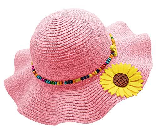 Kids Girls Multi-Colors Large Brim Flower Beach Sun - Girl Hat Floppy Flower