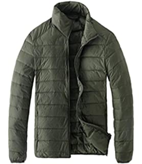 Cromoncent Men Winter Thicken Stand Collar Cotton-Padded Down Jacket Parka Coat