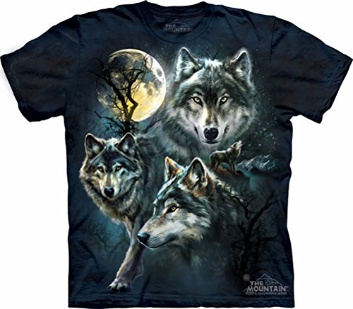 Moon Collage - Wolf Shirt Moon Wolves Collage T-shirt Tie Dye Adult Tee (Medium)
