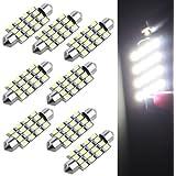8X Bombilla Lámpara 16 LED 3528 SMD 12V Luz Blanco Coche