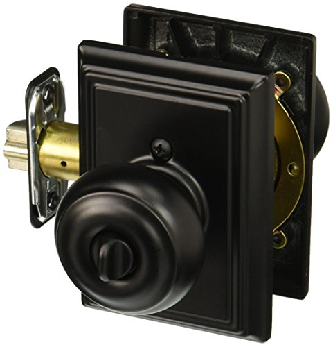 (Schlage Lock Company F51AGEO622ADD Matte Black Georgian Keyed Entry F51A Panic Proof Door Knob with Addison Rosette)