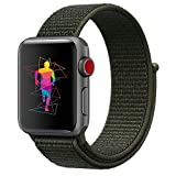 INTENY Sport Band Compatible Apple Watch 42mm, Soft Lightweight Breathable Nylon Sport Loop Replacement Strap Compatible iWatch Series 3, Series 2, Series 1, Hermes, Nike+, Edition (Cargo khaki, 42mm)