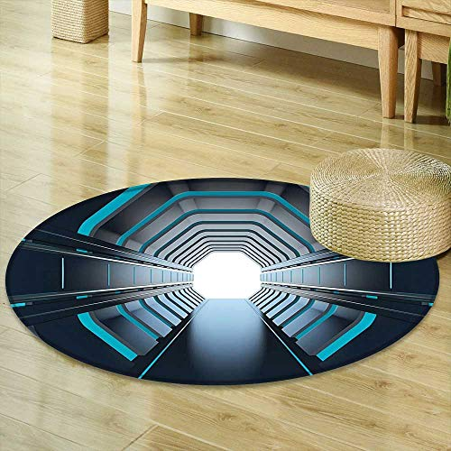 Mikihome Dining Room Home Bedroom Carpet Outer Space Decor Tunnel with Neon Lights Passage Mercury Lunar Orbit Inspired Stardust Art Blue Black Non Slip Rug -