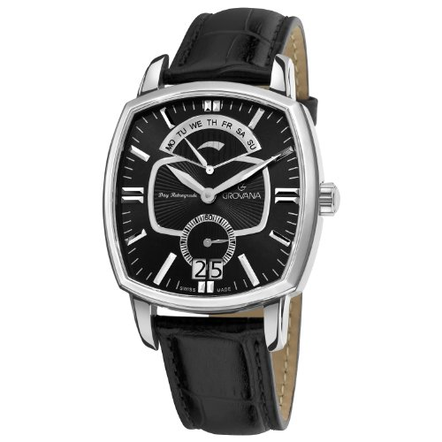 Grovana Men's 1717-1537 Retrograde Analog Display Swiss Quartz Black Watch