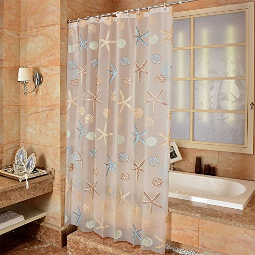 Ufatansy Uforme Sea Star Theme Pattern Shower Curtain Liner Waterproof, 100% Eco-Friendly PEVA Bathroom Curtian Stain Resistant with Rustproof Metal Grommets, Standard Size (60Wx72L) - Curtain Transparent Plastic