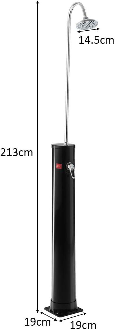 COSTWAY 20L Ducha Solar de Jard/ín Ducha Exterior Ducha de Piscina hasta 60 /°C con V/álvula Fr/ía-Caliente Altura de 213cm
