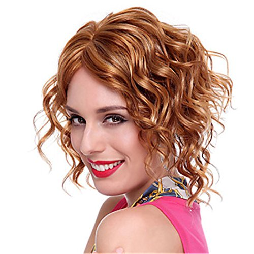 "Women Wigs 12""(30CM) Lady Short Wig Women Layered Wavy Curly Full Wigs Brown Wig For White Women"