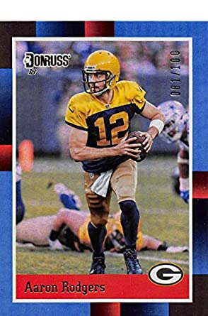 e4187a2fb 2018 Donruss 1988 Tribute Holo  1 Aaron Rodgers SER 100 Green Bay Packers  Official