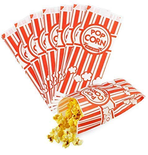Chefible Movie Theater Popcorn Bags, Classic Red and White Stripe, Fun Design, Perfect for Parties and Events! Set of 100