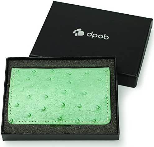 Fashion Stainless Steel Design with Ostrich Grain Leather Business Name Card Case Holder with Magnetic Shut (Green)