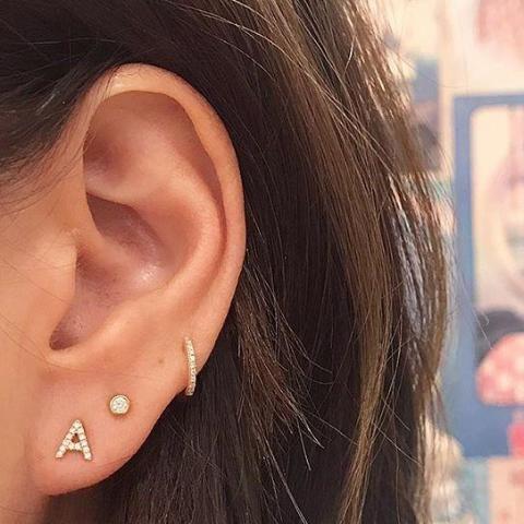 Small CZ Initial Stud Earrings Alphabet Earrings by espere (Image #2)