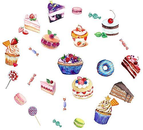 Easma Cupcake Decals Waterproof Happy Birthday Peel and Stick Stickers (24pcs) Cute Bakery Window Decals and Donut Cake Vinyl Wall - Wall Stickers Cupcake