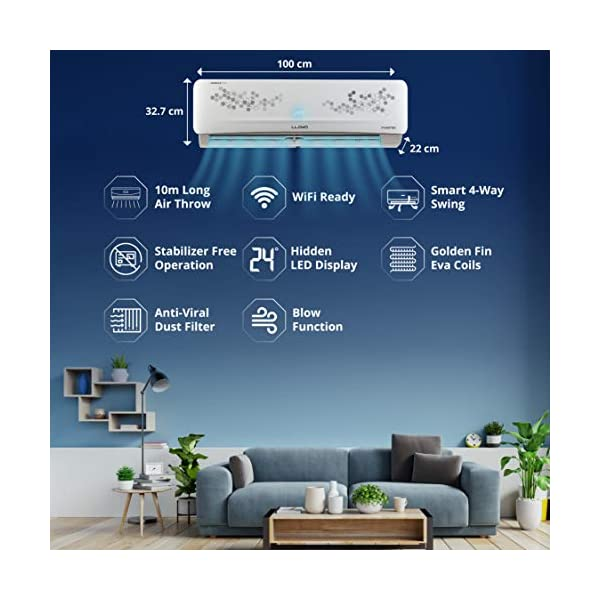 Lloyd 1.5 Ton 5 Star Inverter Split AC (Copper, Anti-Viral & PM 2.5 Filter, 2021 Model, GLS18I56WRBP, White) 2021 July Lloyd Split AC with Inverter Compressor: WiFi Ready AC with variable speed duo rotary compressor which automatically adjusts power depending on desired room temperature & heat load, Energy Efficient with Low Noise Operation, Smart & Elegant design to suit your office & home requirements / interiors Capacity: 1.5 ton suitable for medium size rooms (Up to 160 square feet) Energy Rating: 5 Star, Annual Energy Consumption: 865.90, ISEER Value: 4.56 (please refer to energy label on the product page)