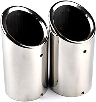 RunQiao 2 x Chrome Stainless Steel Exhaust Muffler Exhaust Tailpipe Tip Pipe Blue