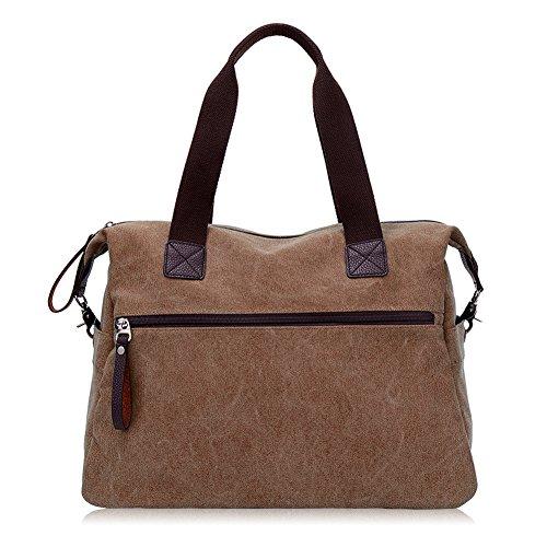 Marrón para de las el la gris bolso de del hace hombro de compras Bolso que turismo lona mujeres 0UwqvTRnx