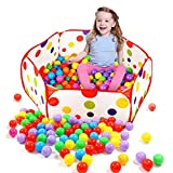 Diameter 90cm Pop up Hexagon Polka Dot Kids Toddlers Ball Play Pool Tent Carry Tote Toys by FEITONG