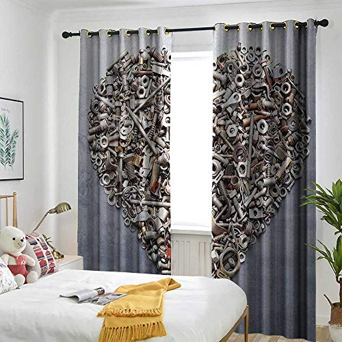 (one1love Industrial Decor Collection Grommet Curtain Nuts and Bolts in Heart Shape Construction Engineering Equipments Rustic Art Draft Blocking Draperies 84