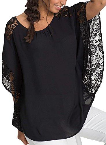 Bdcoco Women's Crew Neck Casual Shirt Lace Batwing Sleeve Chiffon Blouse Top