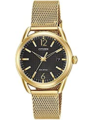 Ladies Drive from Citizen Eco-Drive LTR Black Dial and Gold-Tone Stainless Steel Watch FE6082-59E