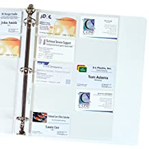 C-Line Business Card Holders, 20 Cards/Page, Clear, 8.125 x 11.25 Inches, 1 pack of 10 Sheets (61217)