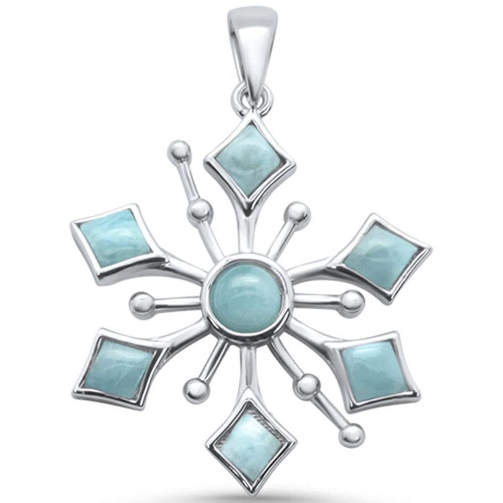 Princess Kylie Natural Larimar Snowflake Design Dangling Pendant Sterling Silver