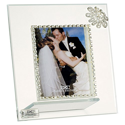 5th Avenue Collection Italian Glass Picture Frame with Swarovski Crystal, Silver Border and Swarovski Flower
