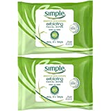Simple Exfoliating Wipes, 25 Count (Pack of 2)