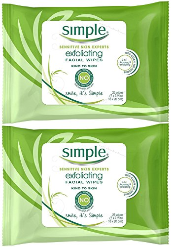 Price comparison product image Simple Exfoliating Wipes, 25 Count (Pack of 2)