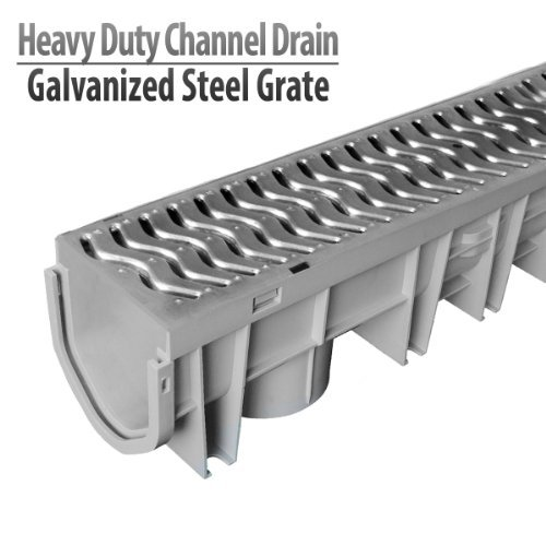Metal Pipe Drain (Source 1 Drainage Trench & Driveway Channel Drain with Galvanized Steel Grate)