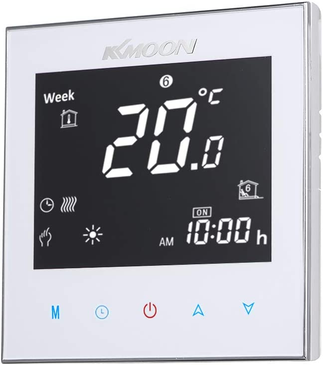 KKmoon 5A AC 95-240V Termostato Inteligente para Caldera de Gas,Wifi Regulador de Sistema de Caldera de Gas,Controlador con Pantalla Negativa T/áctil LCD,Programable